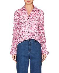 Jourden - Ruffle Floral Cotton Shirt - Lyst