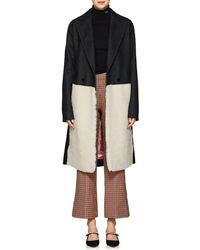 Cedric Charlier - Shearling-inset Wool-blend Coat - Lyst