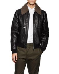 Valentino - Shearling-trimmed Leather Bomber Jacket - Lyst