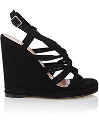 Barneys New York Knotted-strap Suede Platform-wedge Sandals