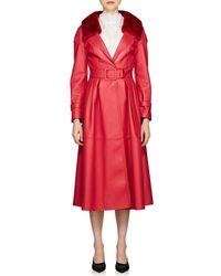 Fendi - Fur-collar Belted Leather Coat - Lyst