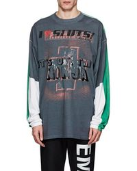 Vetements Colorblocked Cotton Oversized T-shirt - Gray