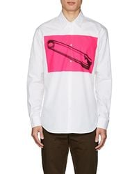 DSquared² - Safety-pin-graphic Cotton Poplin Shirt - Lyst