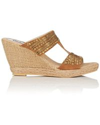 a47d2f4c943 Lyst - Charlotte Russe Bamboo Embroidered Platform Slide Sandals in ...