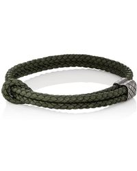 Bottega Veneta Intrecciato Leather And Burnished Silver-tone Bracelet - Black DPWK2