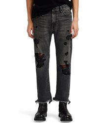 R13 Sid Distressed Straight Jeans - Black