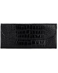 Barneys New York Crocodile-stamped Leather Travel Wallet - Black