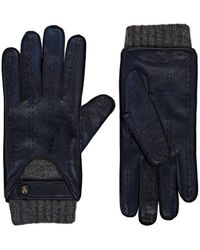 Christophe Fenwick Le Mans Cashmere-lined Leather Driving Gloves - Blue