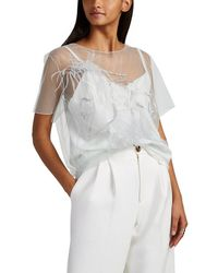 Nina Ricci - Sequin & Feather-embellished Tulle Blouse - Lyst