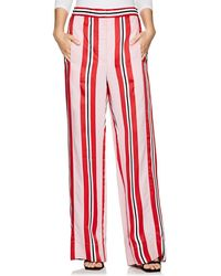 Cedric Charlier Striped Twill Wide-leg Pants Baby Pink