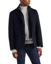 Herno Cashmere Melton Coat - Blue