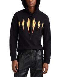 Neil Barrett Flaming-bolt-print Cotton Hooded Sweatshirt - Black