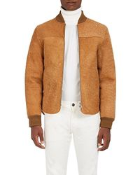 Officine Generale Ian Faux Shearling-lined Suede Bomber Jacket - Brown