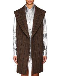 CALVIN KLEIN 205W39NYC Herringbone Wool-silk Oversized Vest - Brown