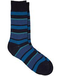Barneys New York Striped Wool-blend Mid-calf Socks - Blue