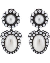 Kenneth Jay Lane Imitation-pearl Clip-on Earrings - Metallic