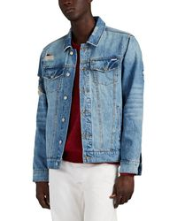 Ovadia And Sons Distressed Denim Trucker Jacket - Blue