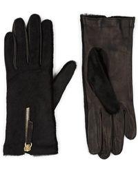 Want Les Essentiels De La Vie Mozart Calf Hair & Leather Gloves - Black