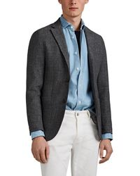 Eleventy Mélange Basket-weave Wool-cotton Two-button Sportcoat - Gray
