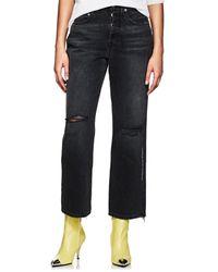 Adaptation Distressed Straight Crop Jeans - Black