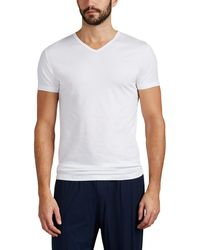 Zimmerli - Piqué Como Stretch-cotton V-neck T-shirt - Lyst