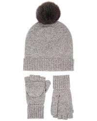 Barneys New York - Wool-cashmere Beanie & Convertible Mitten Set - Lyst