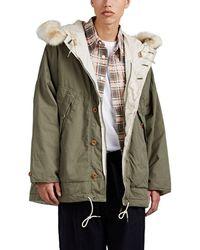 Visvim Reversible Fur-trimmed Cotton-blend Parka - Green