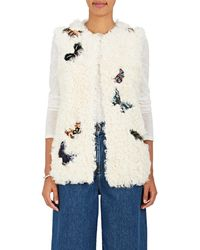 Valentino Butterfly-appliquéd Shearling Vest - Multicolour