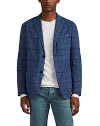 Boglioli k Jacket Plaid Cotton-blend Two-button Sportcoat - Blue
