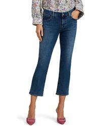 J Brand Selena Distressed Mid-rise Boot-cut Crop Jeans - Blue