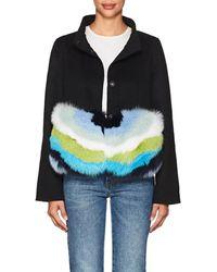Barneys New York Fur-trimmed Wool-cashmere Coat - Black