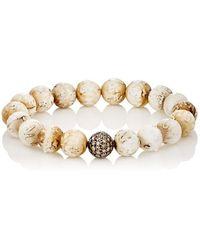 Devon Page Mccleary - White Diamond & Woolly Mammoth Beaded Bracelet - Lyst