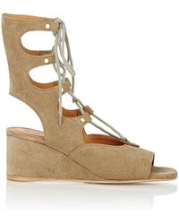 Chloé Foster Suede Wedge Gladiator Sandals - Green