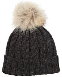 Crown Cap - Fur-embellished Marled Lambswool - Lyst