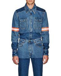 CALVIN KLEIN 205W39NYC Reflective-tape-trimmed Denim Shirt Jacket - Blue