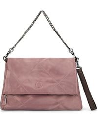 Deux Lux Oversized Quilted Satin Roll Clutch - Pink
