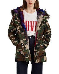 Barneys New York Fur-trimmed & Fur-lined Camouflage Canvas Parka - Green