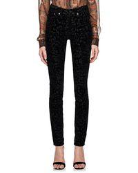 Saint Laurent - Leopard Velvet Skinny Jeans - Lyst