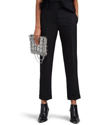 Haider Ackermann Virgin Wool Cuffed Crop Trousers - Black