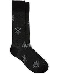 Barneys New York Snowflake-motif Wool-blend Socks - Gray
