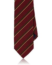 Barneys New York - Striped Basket-weave Silk-cotton Necktie - Lyst