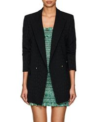 Blazé Milano Everyday Leopard Jacquard Wool Double-breasted Blazer - Black
