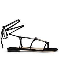 Paul Andrew Suede & Snakeskin Ankle-tie Sandals - Black