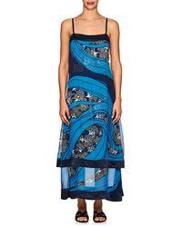 Warm Carolyn Georgette Sleeveless Dress - Blue