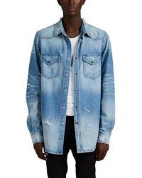 Amiri Distressed Denim Western Shirt - Blue