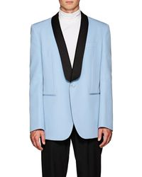 CALVIN KLEIN 205W39NYC Light-blue Oversized Satin-trimmed Wool Tuxedo Jacket