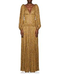 J. Mendel Metallic-weave Silk Plissé Gown