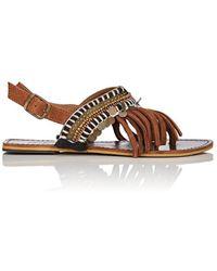 OndadeMar Embellished Leather Sandals - Brown