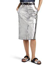 Cedric Charlier Striped Coated Denim Skirt - Metallic