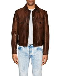 Ralph Lauren Black Label - Burnham Stitched Leather Western Jacket - Lyst